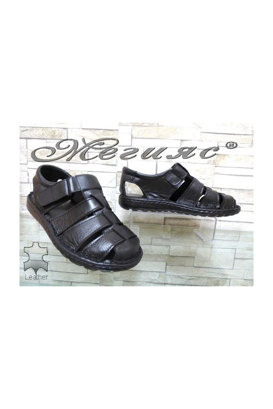 207/01 XXL Men's sandals black leather