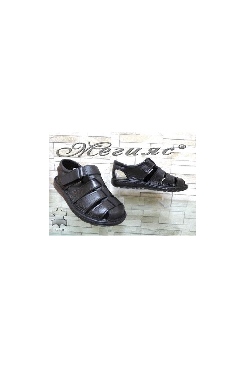 207/01 XXL Мъжки сандали гигант черни от естествена кожа