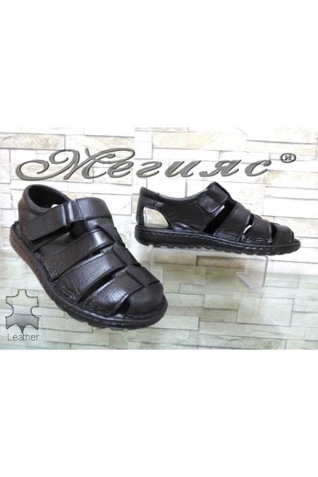 207/01 XXL Men's sandals black leather