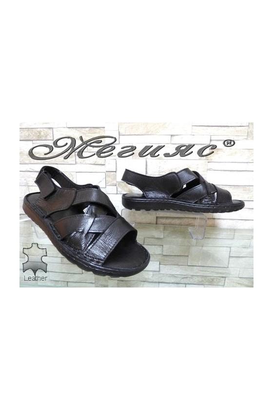 86/01 XXL Мъжки сандали гигант черни от естествена кожа