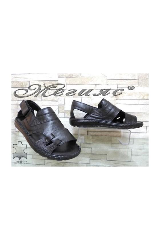 206/01 Мъжки сандали черни от естествена кожа