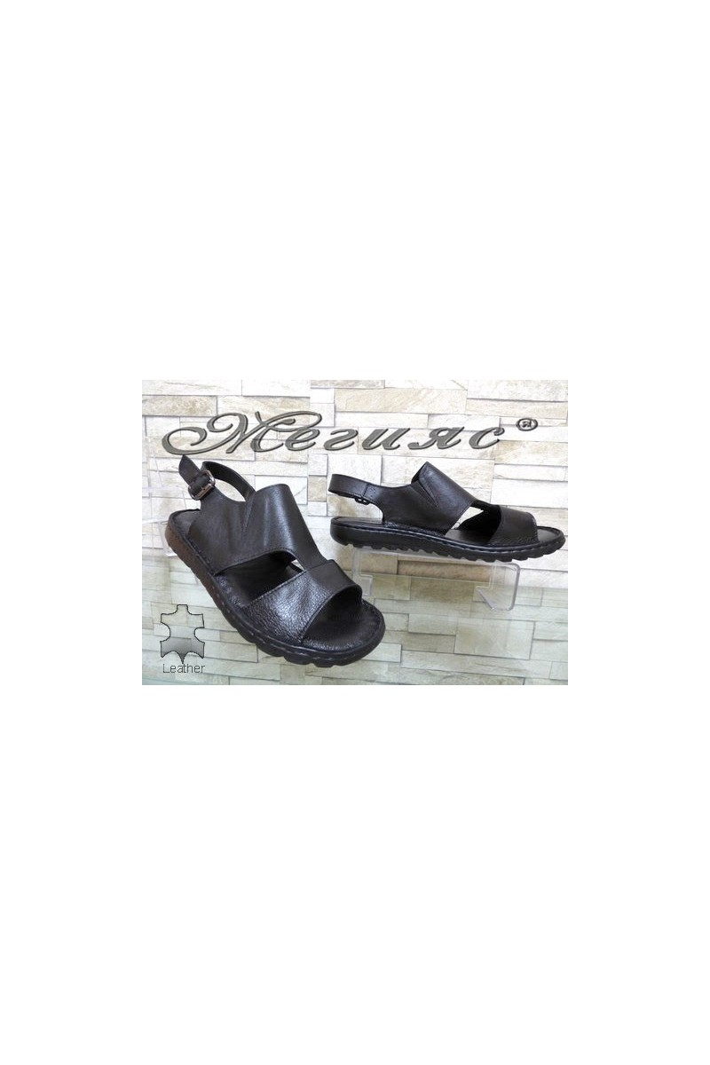 107/01 XXL Мъжки сандали гигант черни от естествена кожа