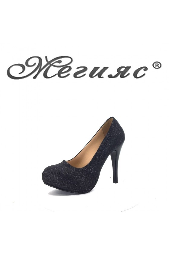 500 Дамски обувки черен брокат на висок ток