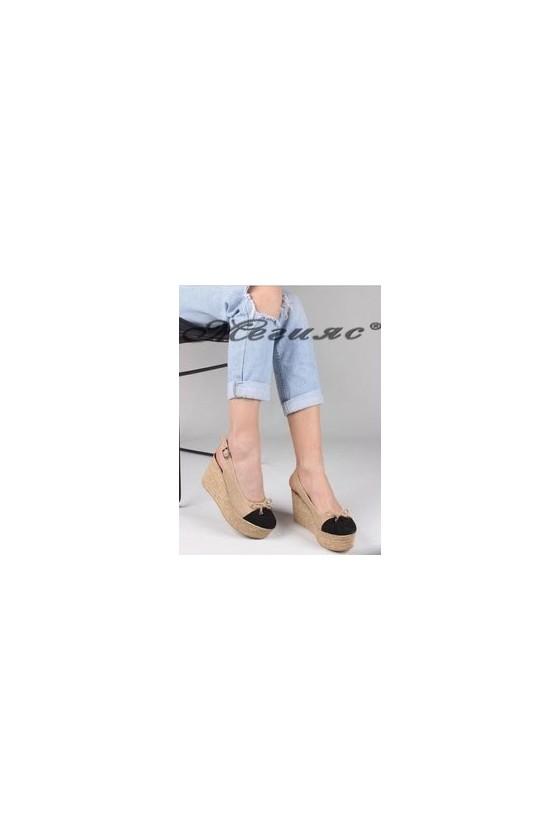4474 Дамски сандали бежови от текстил
