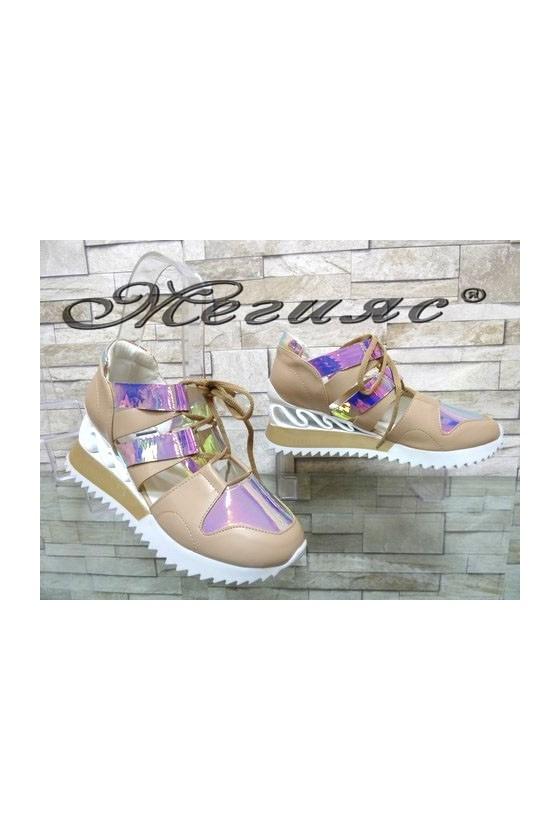 88-5 Women sport shoes beige pu
