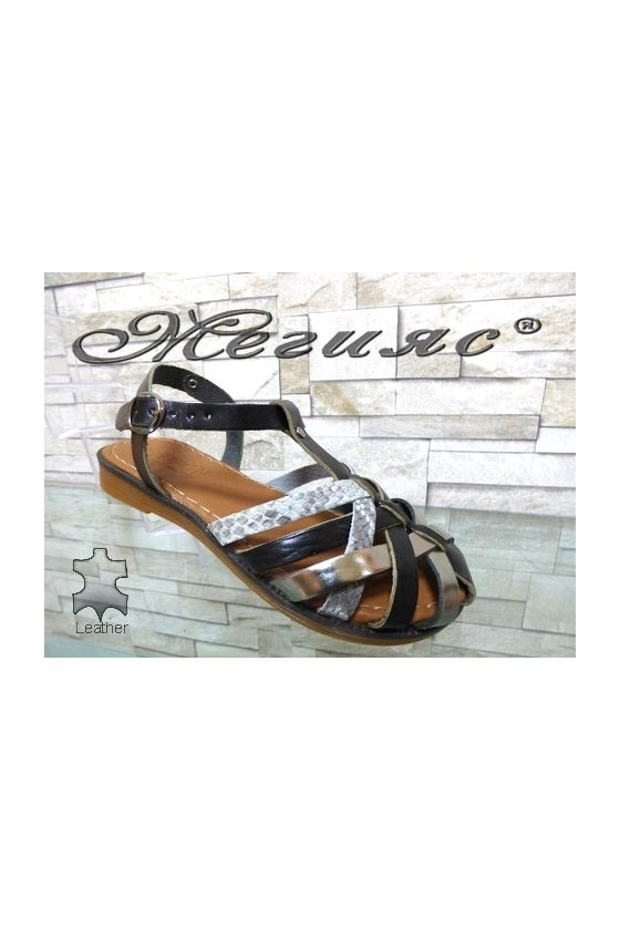 811 Lady sandals black/silver leather
