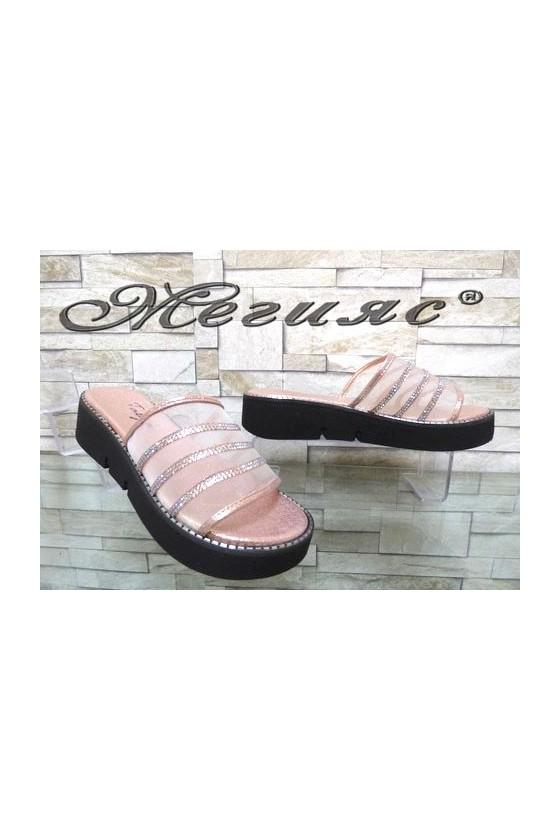 1001 Дамски чехли цвят пудра с мрежа ежедневни