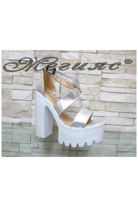 9996 Lady elegant sandals silver pu with high heel