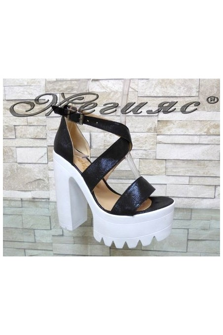 9996 Lady elegant sandals black pu with high heel