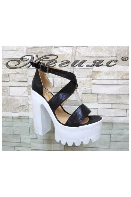 9996 Lady elegant sandals black pu with high heel