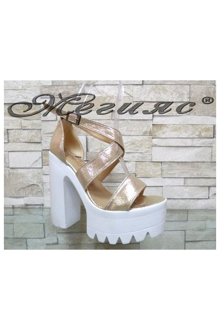 9996 Lady elegant sandals gold pu with high heel