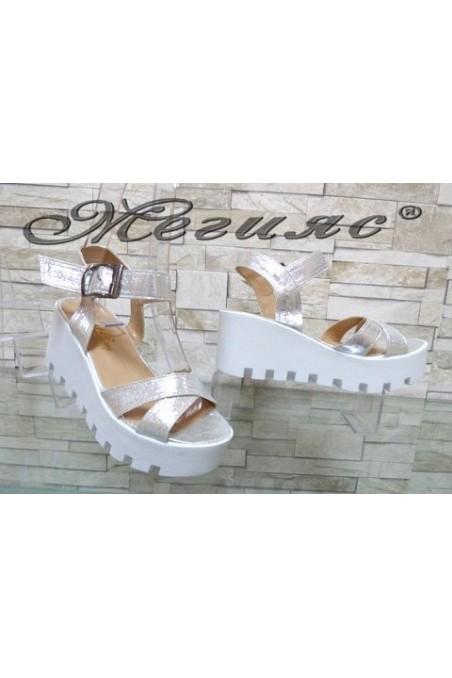 9991 Women platform sandals silver pu