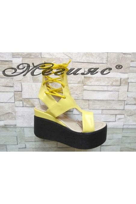 525 Women platform sandals yellow pu