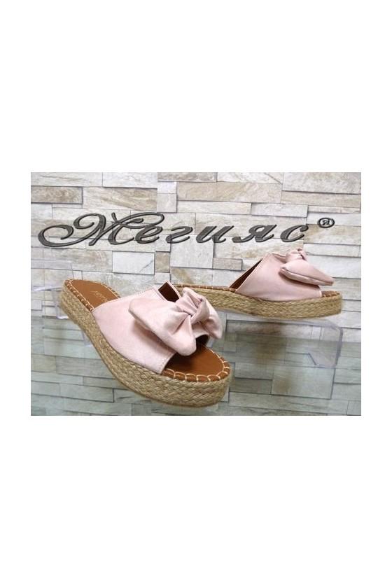 620 Дамски чехли цвят пудра от еко велур