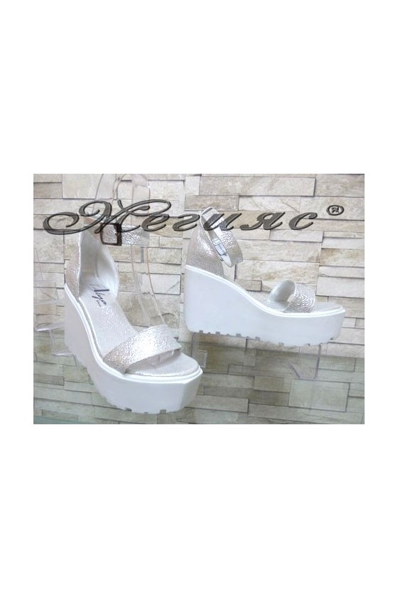 9995 Lady platform sandals silver pu