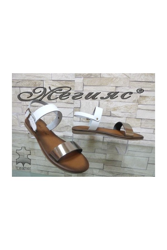 816 Lady sandals white leather