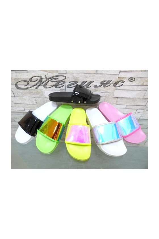 2222 Lady sandals pink/yellow/green/black