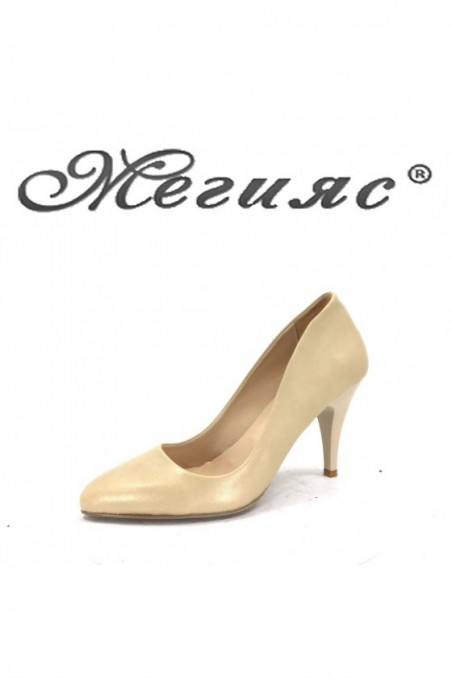 1700 Women elegant shoes beige pu