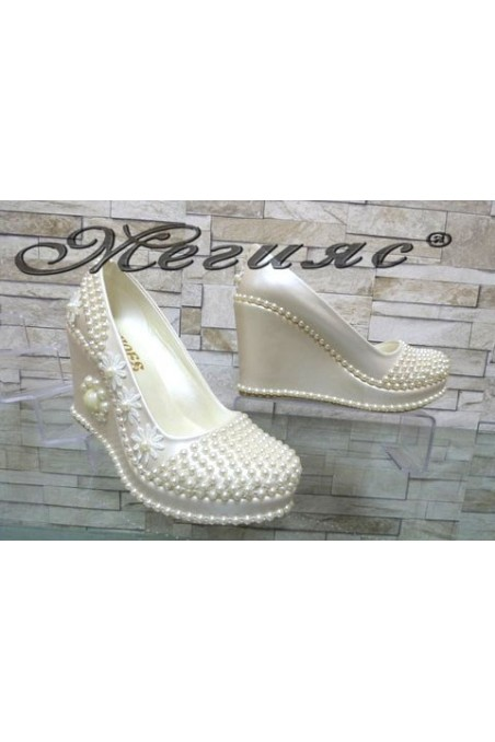 513-12 Lady platform shoes white