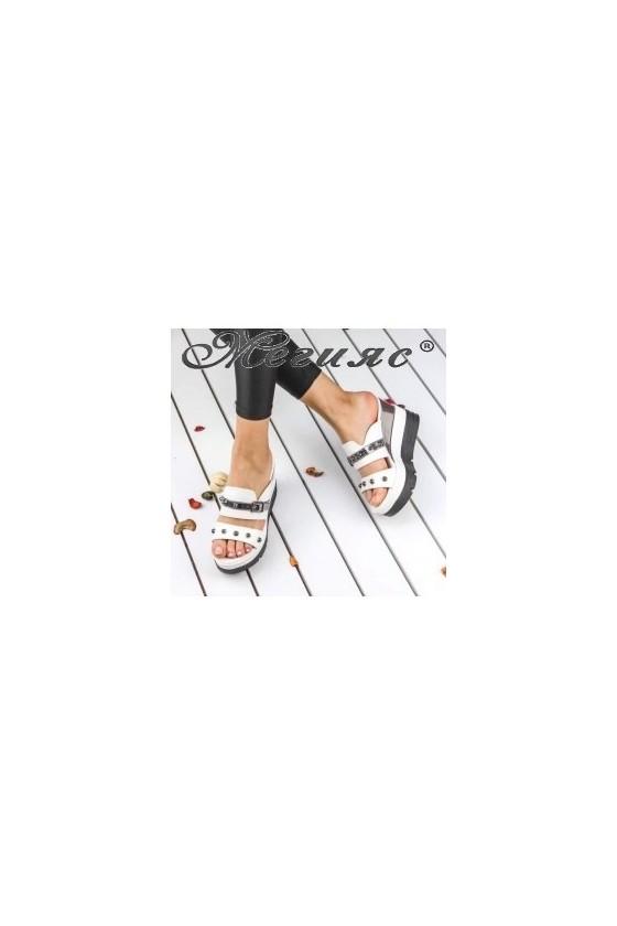 18602 Lady platform sandals white pu