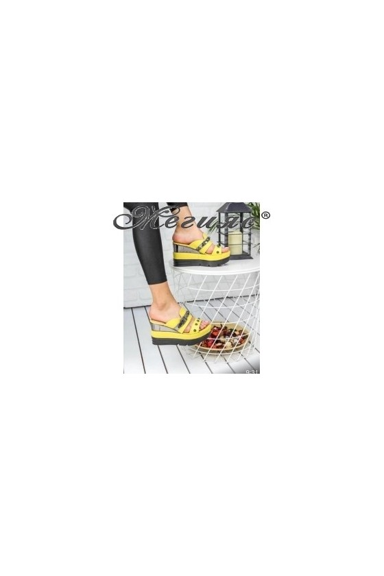 18617 Lady platform sandals yellow pu