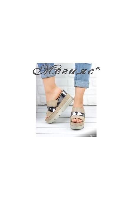 18609 Lady platform sandals beige sued