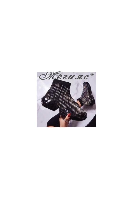 1128 Дамски спортни обувки черни тип маратонки