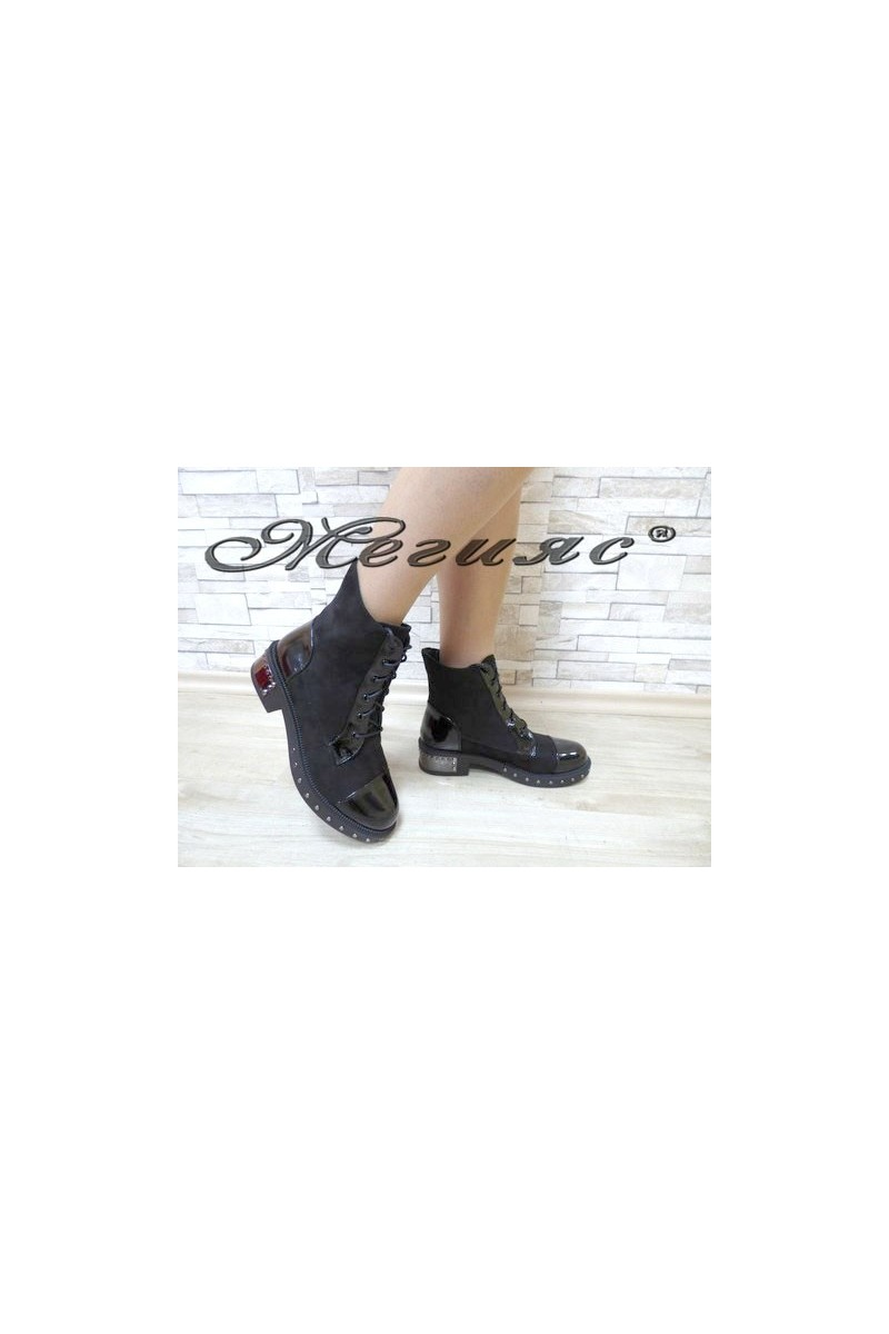 19-1415 Christine Women boots black suede/patent