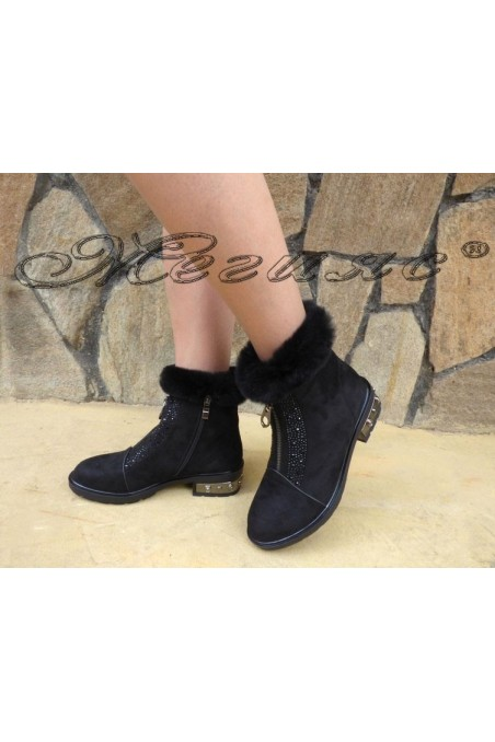 Christine 19-1430 Lady boots black suede with fur