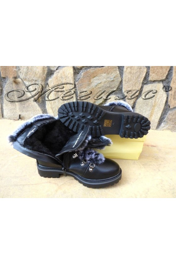 Women boots  CASSIE 19-1466 black pu with fur