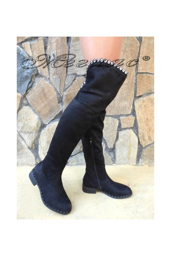 Дамски ботуши CASSIE 19-1457 черни велур тип чизми