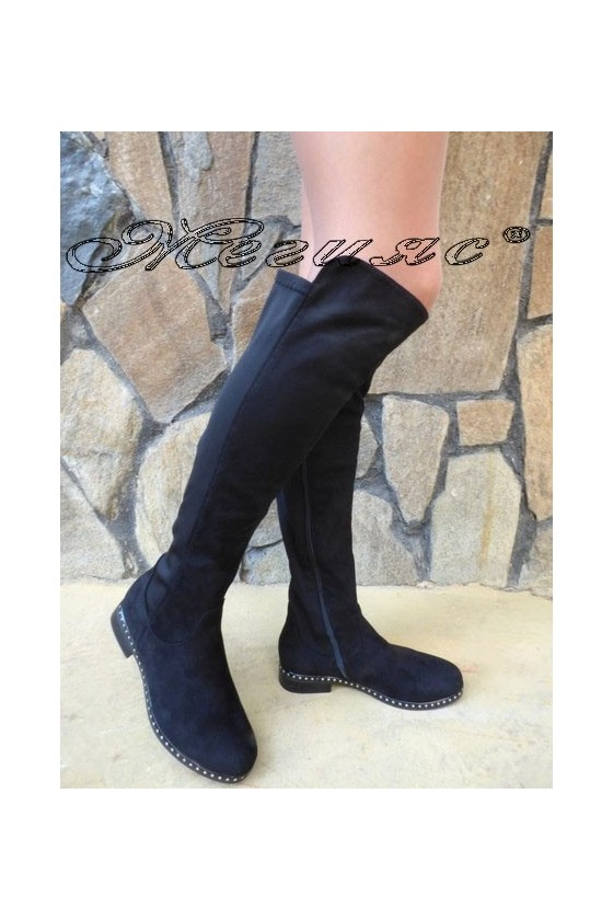 Дамски ботуши CASSIE 19-1460 черни велур тип чизми