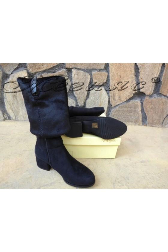 Дамски ботуши черни велур тип чизми CASSIE 19-1478