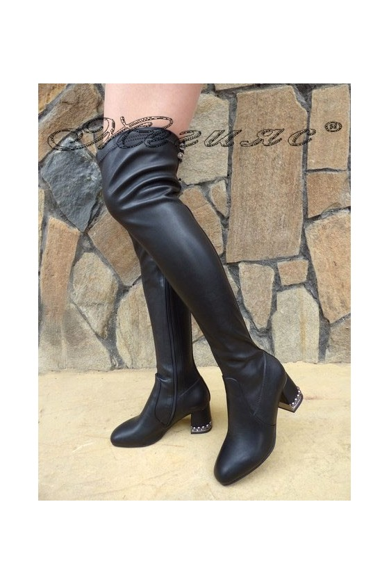 SONIA 19-1207 Lady long boots black pu
