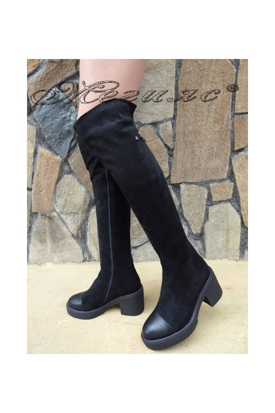 SONIA 19-1216 Women long boots black suede