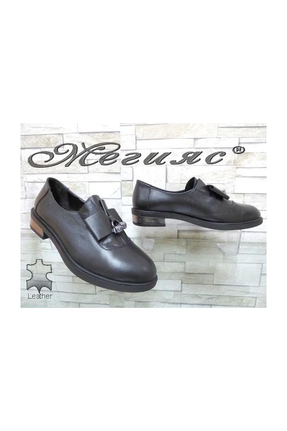 8019-18 Дамски обувки черни от естествена кожа ежедневни