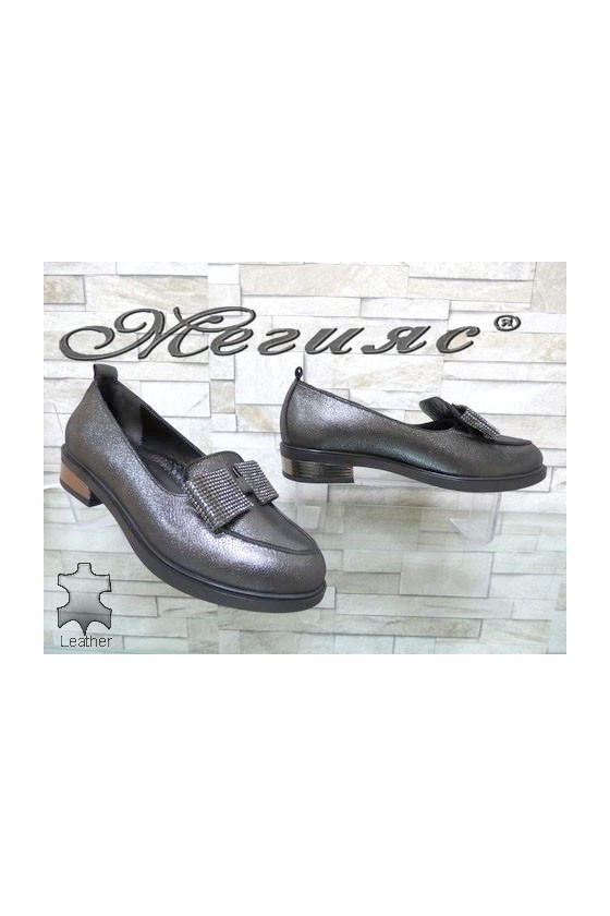 1031-11 Women shoes dk.silver leather