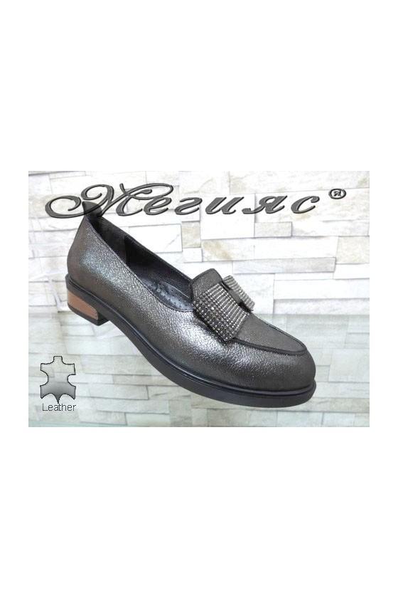 1031-11 Women shoes dk.silver leather