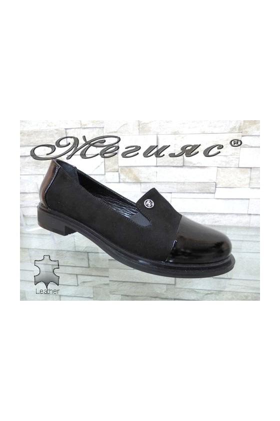 81-200-25 Дамски обувки ежедневни от естествен велур и лак