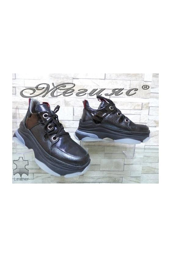 1206-1246 Дамски обувки черни от естествена кожа