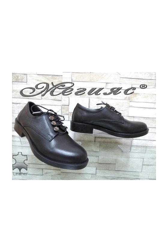 0227-20 Дамски обувки черни ежедневни от естествена кожа