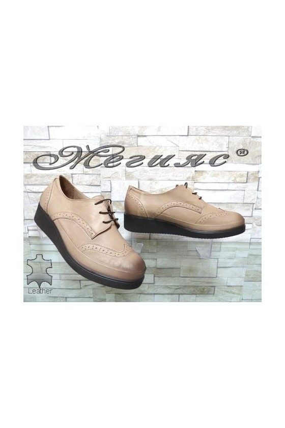 1014 XXL Women shoes beige leather