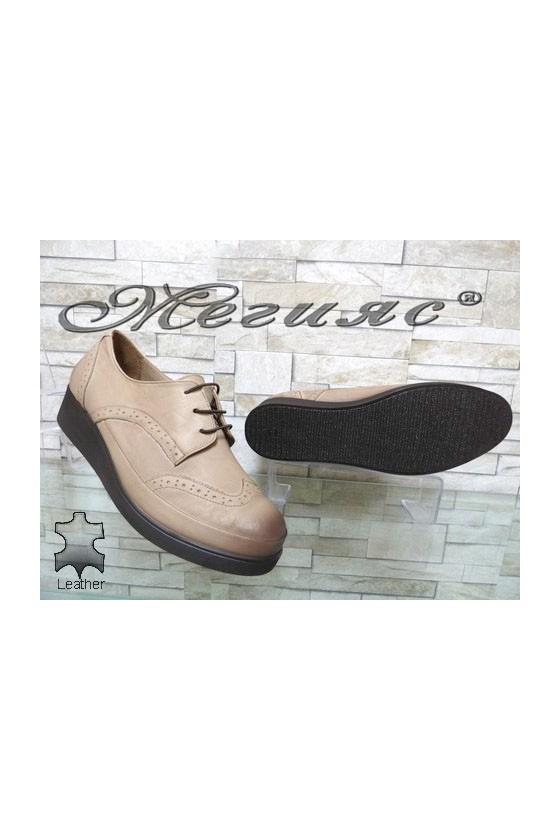 1014 XXL Women shoes beige leather