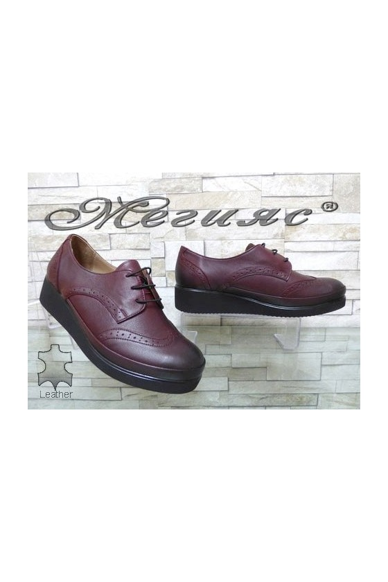 1014 XXL Women shoes wine leather