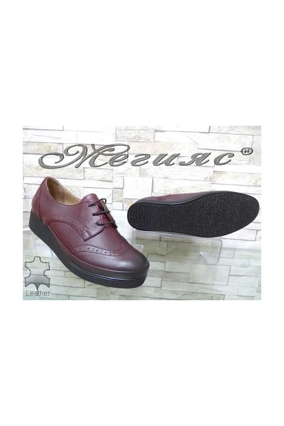 1014 XXL Women shoes wine leather