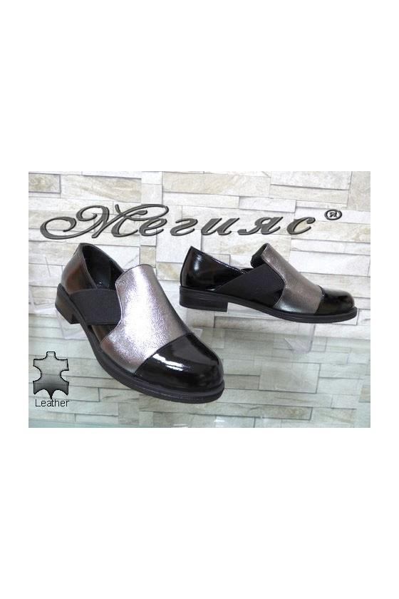 001-95 Дамски обувки черни с графит от естествена кожа