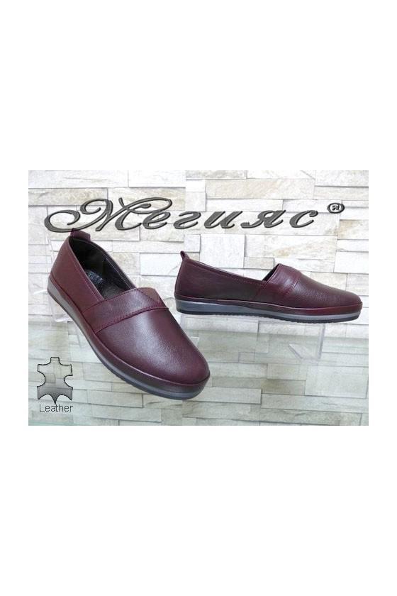 301 Дамски ортопедични обувки цвят бордо от естествена кожа