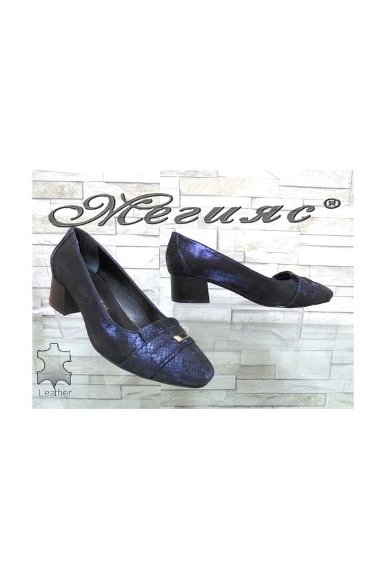 76-73 Дамски обувки XXL гигант сини от естествена кожа с широк ток