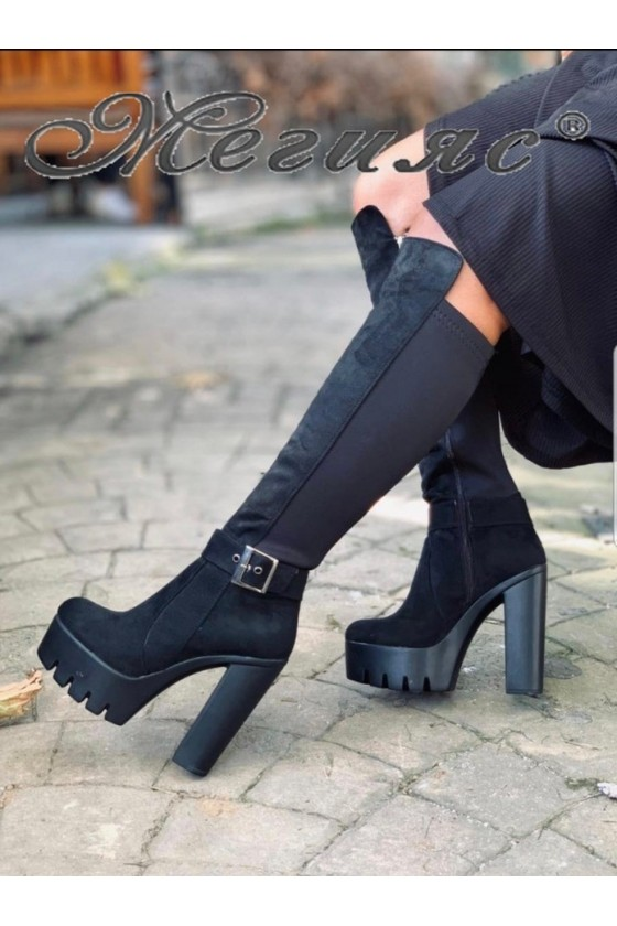 105 Women long boots black pu