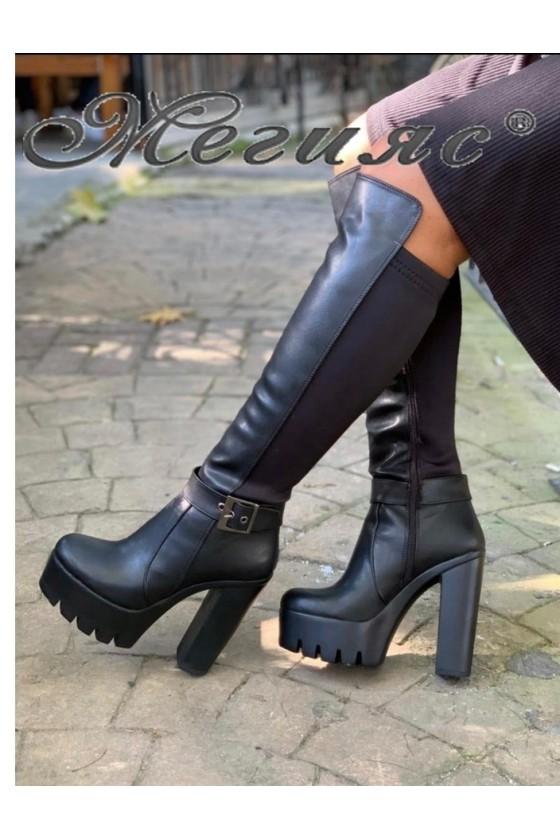105 Дамски ботуши черна кожа с висок ток